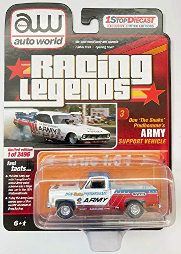 1973 Chevy C-10 Pick Up Truck Racing Legends Army Support Limited Edition to 2496 Pieces 1/64 Diecast Model Car by Autoworld CP7737