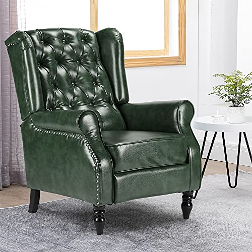 HomeSailing Wing Back Fireside Green PU Leather Recliner Single Sofa Reclining Armchair with Upholstered Padded Seat Armrest Footrest Adjustable Living Room Office Lounge