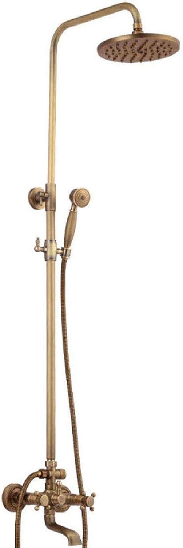 LYYSHS Badezimmer-Duschsystem-Set Badesystem Retro Badezimmer Wandmontage Dusche Set Wasserhahn Antik Messing Bad Dusche Mischbatterie