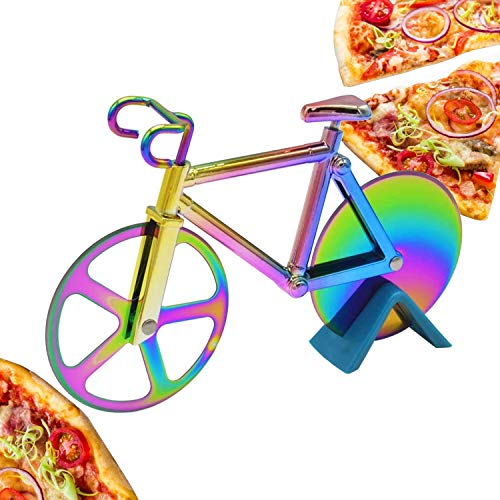 CNXUS Fahrrad Pizzaschneider, Edelstahl Doppel Pizza Schneider, Schneidräder aus Edelstahl, Cutter für Pizza und Teig für Küchengeräte, Pizza Cutter aus Antihaftbeschichtetem(Mehrfarben)