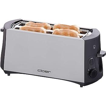 Cloer 3710 Langschlitztoaster für 4 Toastscheiben / 1380 W / integrierter Brötchenaufsatz / Nachhebevorrichtung / Krümelschublade / mattiertes wärmeisoliertes Metallgehäuse