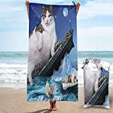 Titanic Cat Sinking Kitty Fat Cats Quick Dry Beach Towel Microfiber Bath Towels Sand-Proof Towels Soft Lightweight Travel Towels Blanket for Camping