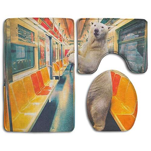 Beck Roy Conjuntos de alfombras de baño 3 Piezas Tren expreso Polar Alfombrillas de baño Divertidas de Oso Polar Alfombrilla de Contorno en Forma de U Alfombrilla de Inodoro