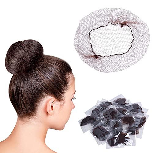 100 Stück Haarnetze Elastische, Haar Netze Unsichtbaren Elastischen Rand für Perücke und Haarfixierung Frauen Duttmacher (Braun)