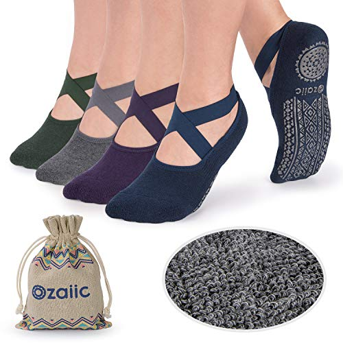 Non Slip Grip Socks for Yoga Pilates Barre Anti Skid Hospital Socks for Women