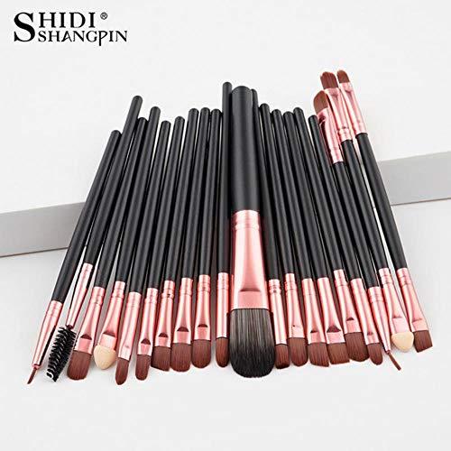 LZJE Pinceaux de Maquillage Set Eye Shadow Foundation Poudre Eyeliner Eyelash Lip Make Up Brush Cosmetic Beauty Maquillage Brush, 20pcs-Black