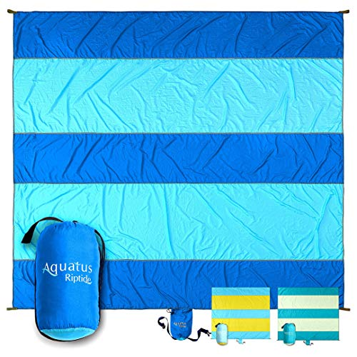 AQUATUS Sand Proof Beach Blanket Extra Large Oversized 10ft by 9ft for 8 Adults Best Beach Mat for Outdoor Camping Picnic Travel Hiking Festivals and Events