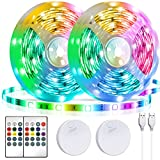 LED Strip Lights Battery Powered13.12ft,Tenmiro Led Lights USB Powered for TV,RGB 5050 Color Changing Led Lights,with Remote Led Lights for Bedroom,Home Decoration,Party,Camping