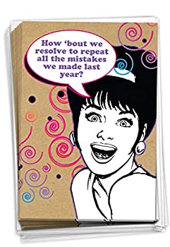 Repeat Mistakes - Box of 12 Happy New Year Greeting Cards with Envelopes  4.63 x 6.75 Inch  - Funny Woman Resolution Funny Note Cards for Women Wife Mom - Retro Printed Stationery B1164