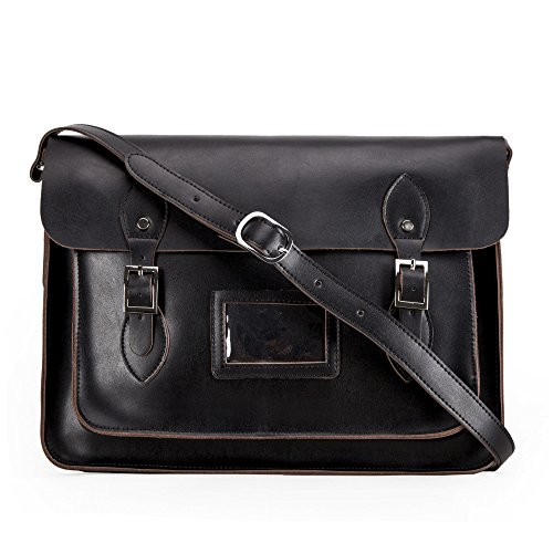 Yasmin Leather Satchel YLS015-15' Large (Black)