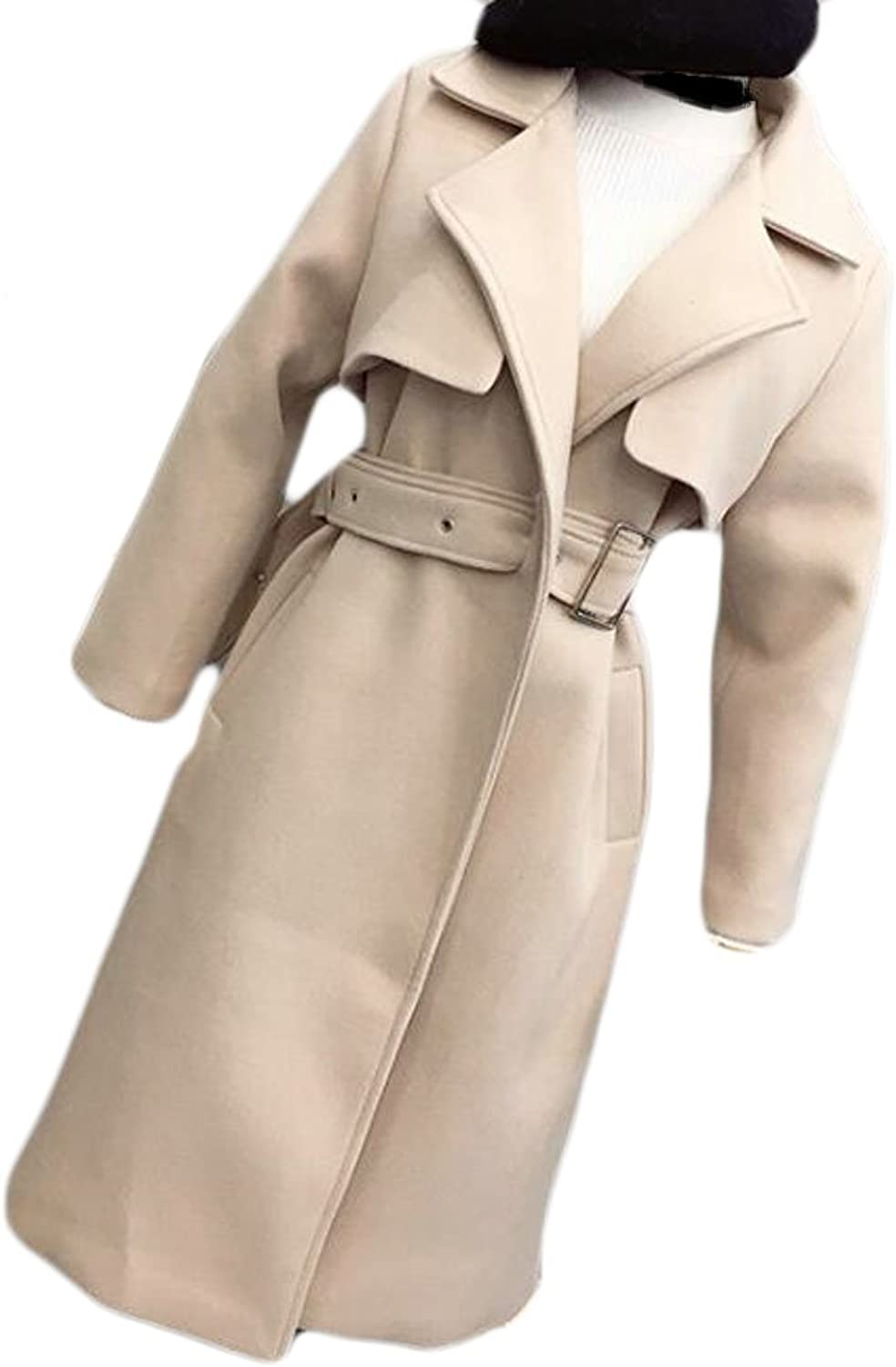 Pandapang Womens Lapel Collar Thicken Belted Fit Solid Pea Coat Overcoat