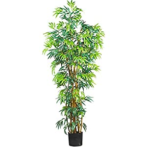Nearly Natural 6′ Curved Bamboo Silk Artificial Trees, 72in, Green