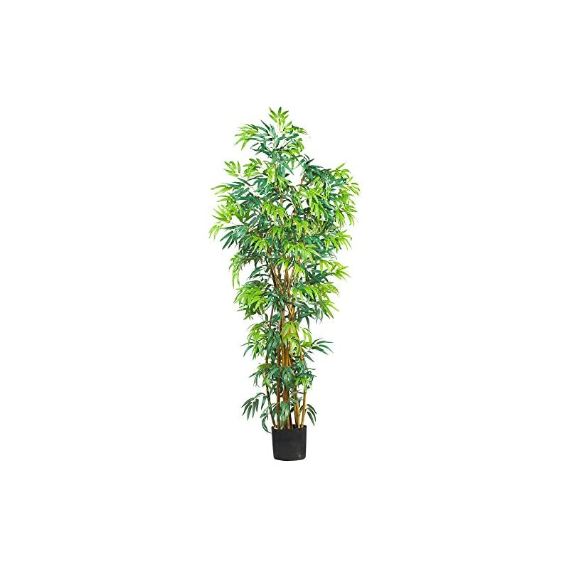 silk flower arrangements nearly natural 6' curved bamboo silk artificial trees, 72in, green
