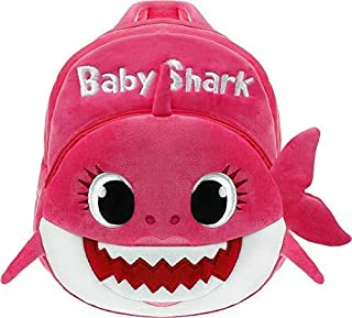 Baby Shark School Bag, Kids Cute Plush School Backpack (Pink)