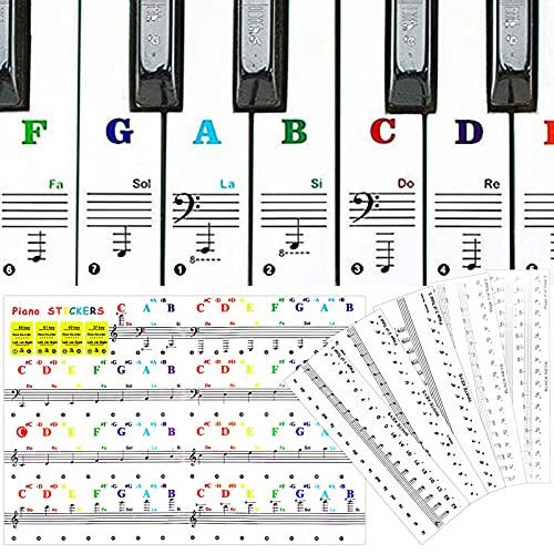 Smilcloud 6 Hojas de Pianos Teclados Pegatinas, Pegatinas de