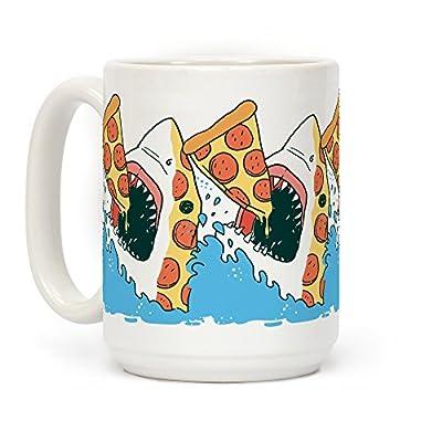 LookHUMAN Pizza Shark White 15 Ounce Ceramic Coffee Mug