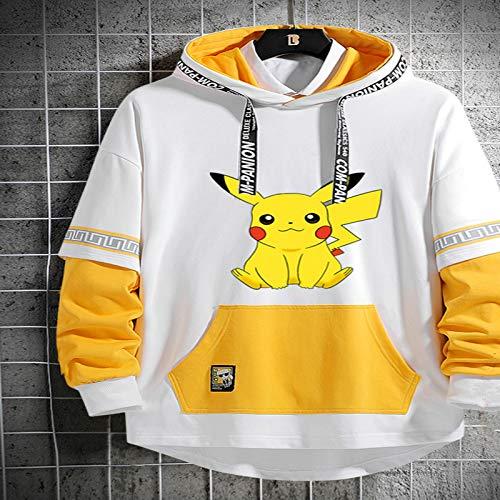 XINXIANG Abrigo Pikachu Sudadera Pikachu para Hombre, Chaqueta con Capucha de otoño para jóvenes de Moda, Sudadera con Capucha de Dibujos Animados para Estudiantes de Secundaria