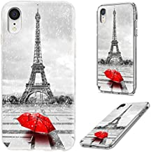 iPhone XR Case,VoMotec Shockproof Slim Flexible Soft TPU 360 Full Protective Clear Thin Phone Cover Cases with Art Design for iPhone XR 6.1 Inch 2018,Paris Eiffel Tower in The rain with red Umbrella