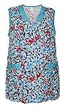 Schuerzenfabrik 7/8 Kasack Kittel kurz Schürze ohne Arm Baumwolle bunt Blumen, Größe:50, Modell:Modell 1