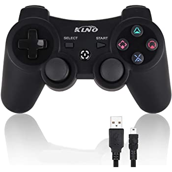 Game Controller for PS3 - Wireless Dual Vibration 3 KLNO Gamepad, Best Gifts for Kids, Son and Father in Family Playing with USB Charger Cable, for Sony Playstation 3 (Black)