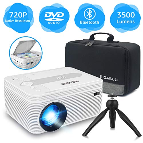 BIGASUO [2020 Upgrade HD] Native 720P Bluetooth Projector Built in DVD Player, Portable Mini Projector 3500 Lumens Compatible with iPhone/iPad/TV/HDMI/VGA/AV/USB/TF SD Card, 1080P Supported