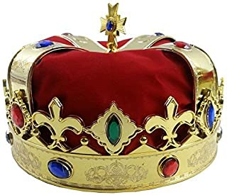 王冠 コスプレ かぶりもの 大人 子供 王様 仮装 変装 男女兼用 赤いベルベット式 [並行輸入品]