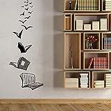 Diseño Libros abiertos como pájaros voladores Etiqueta de la pared Calcomanía de vinilo Niño Niños Dormitorio Sala de estar Estudio Sala de lectura Aula Biblioteca Oficina Decoración para el hoga