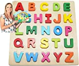 Rompecabezas de madera para niños Juguetes para niños de 3-5 años; ABC Girl, Boy Learning Resources; Nombre educativo, rompecabezas de la forma Juguetes de aprendizaje preescolar para los niños