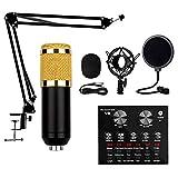 BSJZ Paquete de micrófono de Condensador, micrófono USB - Tarjeta de Sonido en Vivo 800, Brazo de Tijera de suspensión de micrófono Ajustable, Soporte de Metal para grabación en Estudio