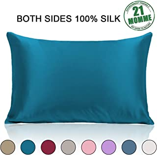 Ravmix Pillowcase Standard Size with Hidden Zipper 100% Silk Pillow Cover for Hair and Skin Both Sides 21 Momme 600 Thread Count Hypoallergenic Soft Breathable, 20×26inch, 1pcs, Peacock Blue