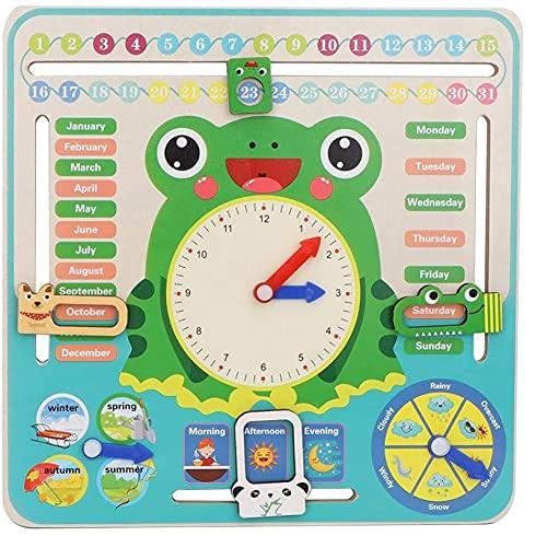 hsj WDX- Horloge de calandre en Bois, Enfants Tout Autant d aujourd Hui Conseil de Calendrier My First Clock Jouet Cognitive pour Les garçons et Filles de Toddlers 3 Ans + Faire des Exercices