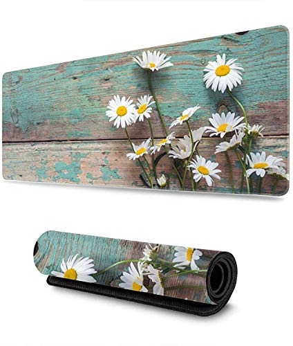 Daisies on Old Boards Gaming Mouse Pad XL,Extended Large Mouse Mat Desk Pad, Stitched Edges Mousepad,Long Non-Slip Rubber Base Mice Pad,31.5X11.8 Inch