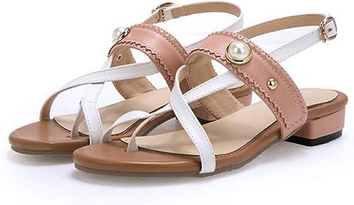 JRSHODA Nouvelles Femmes Sandales PU Chaussures D'été D'été Perle Talons Bas Chaussures De Sport Les Les dames Chaussures De Plage Douce Femme Grande Taille 44