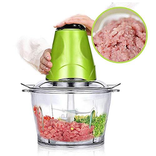 SYXZ 2L Elektrische Fleischwolf Häcksler Shredder Lebensmittel Häcksler Küche Werkzeug Fleisch Gemüse Obst Mühlen Multifunktionskochmasch,Grün