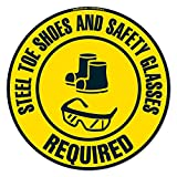 Steel Toe Shoes and Safety Glasses Required Non-Slip Floor Marker | 12 Pack of 16' Circle Vinyl...