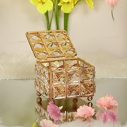LANL Caja de joyería de cristal dorado con cuentas para guardar tesoros, caja de regalo para el día de San Valentín