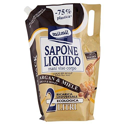 Mil Mil Sapone Liquido Argan e Miele in Busta Maxi Ricarica - 2000 ml
