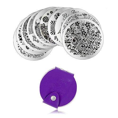 INGINAILS: Ensemble de 10 modèles d'emboutissage et d'étui à emboutir pour la décoration des ongles