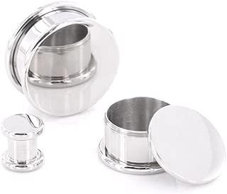 Painful Pleasures Box Plugs Steel Threaded Hollow Center STASH 8mm - 26mm - Price Per 1