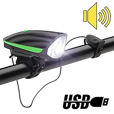 LED Bike Lights Front,Qiccol USB Chargeable Bike Headlight with Bicycle Horn,2-in-1 Bicycle Bell Light with 3 Light Modes Adjustable, Easy to Install Cycling Lights for Mountain Roads and Night