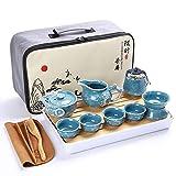 Alarmclocker8B Juego de té de Kung Fu, Juego de Tetera portátil de cerámica,Viajes al Aire Libre,Taza de té con Tapa,Taza de té para Ceremonia del té-B