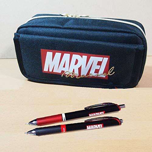 マーベル(MARVEL)フラップ付ポケットペンケース&ボールペン&シャープペンの3点セット 文具セット 50465-3/ぺんてるエナージェルシャープ