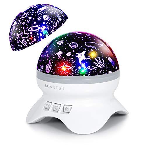 SUNNEST Sternenprojektor Projektionslampe Nachtlicht Baby Sternelampe Ozeanlichter Sternenlicht Sternenhimmel Lichtprojektion Nachtlicht LED Projektor Sternenhimmel, Ozeaneffekt für Party Geburtztag