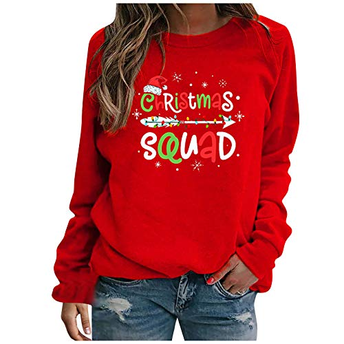 MeikoHome Christmas Letter Shirt Womens Casual Crewneck Sweatshirts Long Sleeves Tunic Tops 2020 New Pullover Red