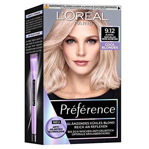 L'Oréal Paris Permanente Haarfarbe mit kühlem Farbergebnis, Haarfärbeset mit Coloration und Anti Gelbstich Pflegebalsam, Préférence Cool Blondes, Nr. 9.12 Sehr helles beige Aschblond (Alaska), 1 Stück