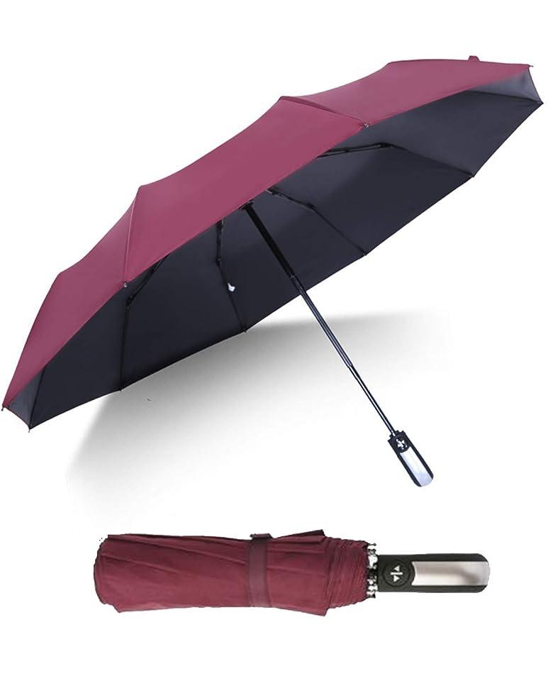リズム暴力インペリアルJinsX 折りたたみ傘 ワンタッチ自動開閉 10本骨 210T高強度グラスファイバー 晴雨兼用 耐強風 超撥水 UV遮蔽率99% 梅雨対策 通勤 通学 旅行 紳士傘 レディース 傘 傘カバー付き メンズ傘