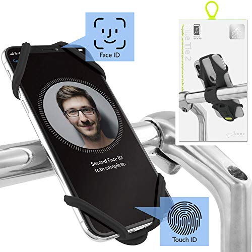 Universal Bike Phone Mount (Upgraded Compatibility with Face ID and Large Smartphones) Bicycle Handlebar Stroller Cell Phone Holder for iPhone 11 Pro Max XS XR 8 7 6 Plus, Bike Tie 2 Series - Black