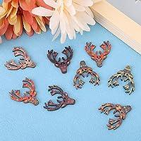 クラフトボタン、50個30mmレトロ鹿の頭の形の手作りの飾り、工芸品の縫製のためのDIYクラフト漫画