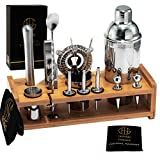 Soing Silver 24-Piece Cocktail Shaker Set,Perfect Home Bartending Kit for Drink Mixing,Stainless Steel Bar Tools With Stand,Velvet Carry Bag & Recipes Included