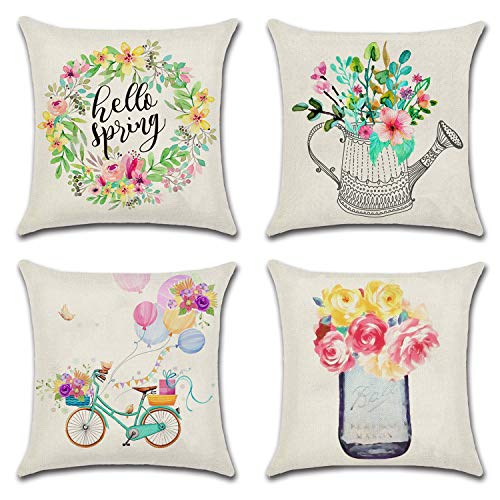 JOJUSIS Spring Throw Pillow Cover Flowers Bicycle Balloons Cotton Linen Home Decor Decorative Cushion Cases 16 x 16 inch Set of 4